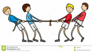 Tug of war, a team building activity for kids